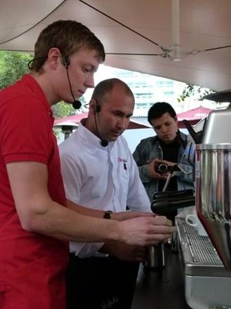 Sebastian and Ever made a presentation for the public explaining them about espresso extraction and steaming of milk.